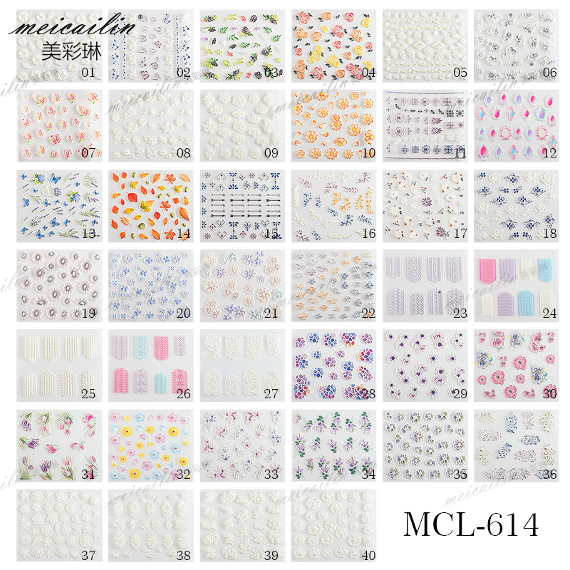 New Style 5D Relief Nail Sticker 40-Nail Dried Flower Nail Sticker 3D Environmental Protection Belt Gum Decal