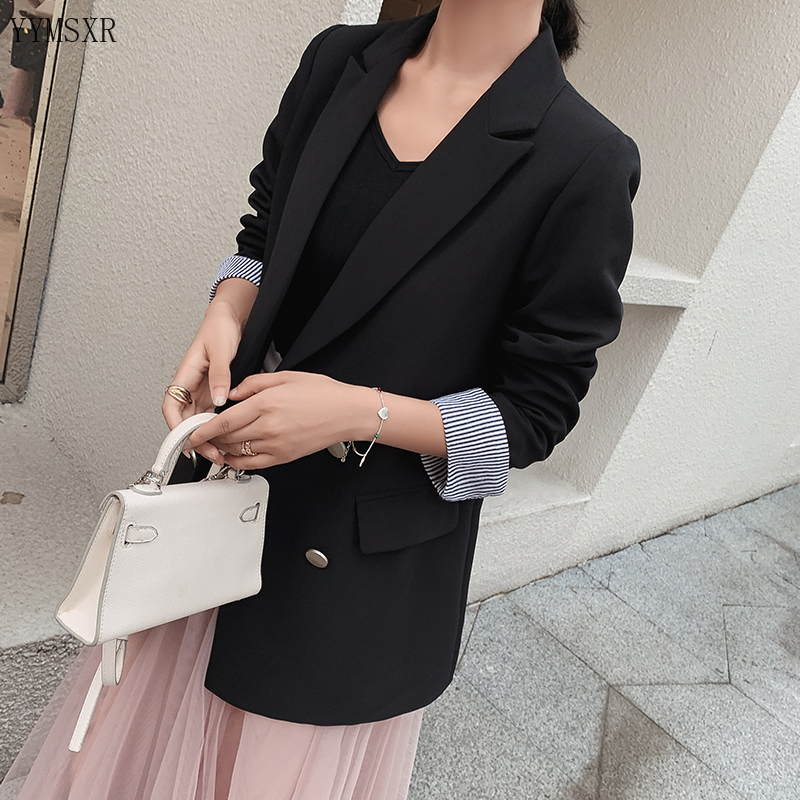 Autumn and winter high-quality women's blazer 2019 Korean Fashion Double Breasted Loose Black Small Suit Women's jacket coat