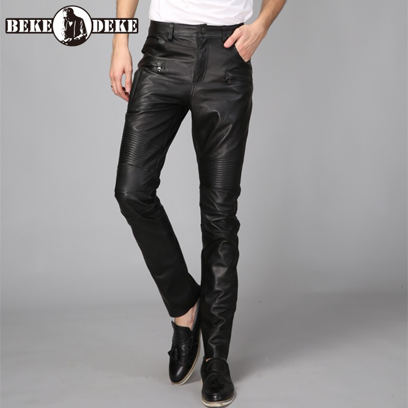 Winter Motor Biker Mens Cowhide Genuine Leather Pants Casual Long Trousers Straight Pant High Quality Leather Windproof Pants