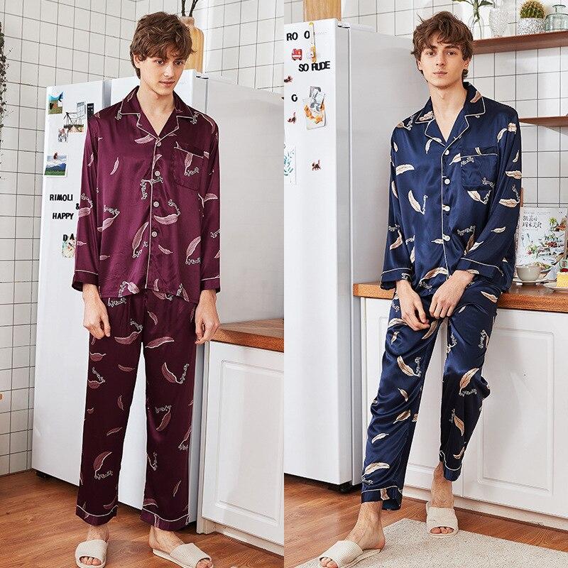 SAMWESTART Men's Stain Silk Pajamas Sets Spring Summer Feather Navy Long Sleeve Trousers Homewear Men Leisure Suits Pijama Mans