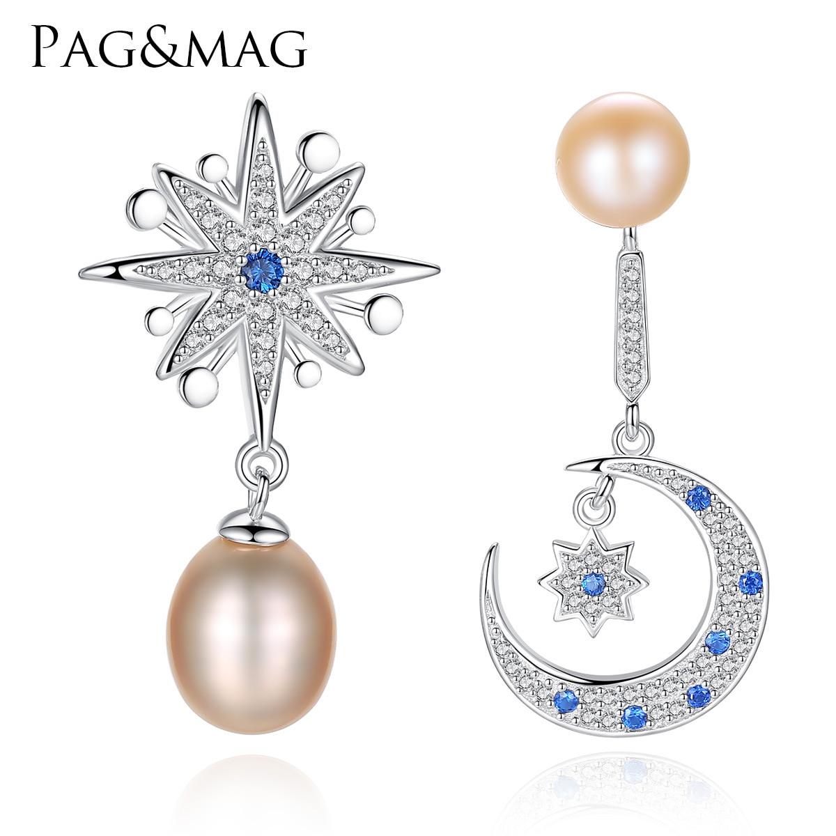 Double Hoop and Faux Pearl Asymmetric Chandelier Earrings Drop 925 Silver