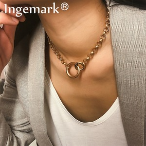 Ingemark Punk Miami Cuban Choker Necklace Hip Hop Jewelry 2019 Trendy Iron Thick Chain Circle Necklace Women Neck Accessories(China)