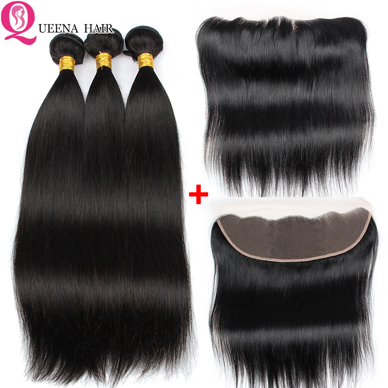Queena Straight Bundles With Frontal Closure Peruvian Human Hair Bundles With Lace Frontal Pre Plucked Frontal And Bundles Remy