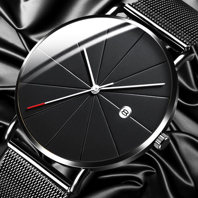 2020 Minimalist Men's Fashion Watches Men Business Date Calendar Clock Male Ultra Thin Stainless Steel Mesh Belt Quartz Watch