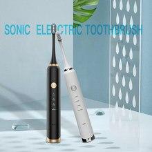 16 Mode brosse à dents électrique sonique 5 têtes de brosse de rechange Ultra sonique USB Rechargeable électronique intelligent voyage brosse dents