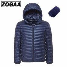 Мужская Сверхлегкая куртка на утином пуху ZOGAA, Белая теплая куртка с капюшоном, зимняя куртка для мужчин, 2019