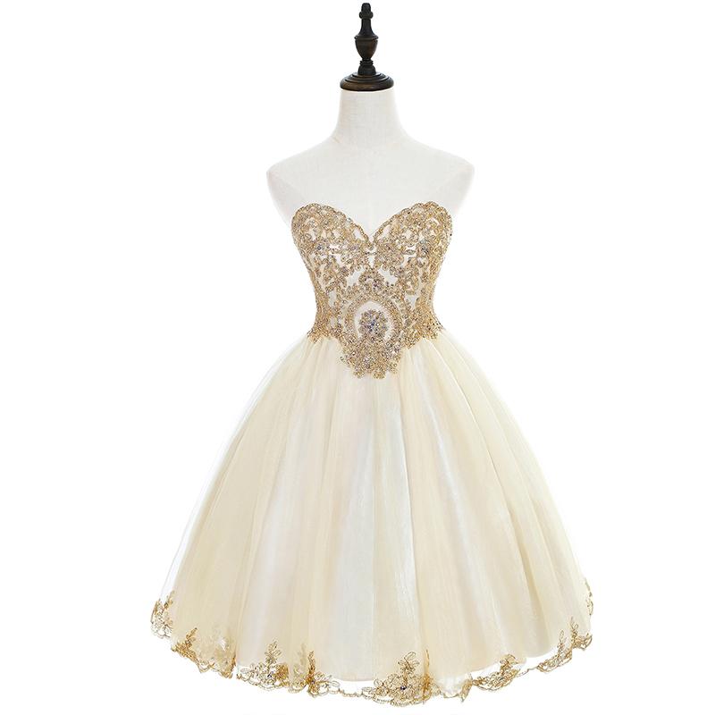 New Arrivals Short Prom Dresses Applique Flowers Neckline Evening Dresses  Real Photos In Stock Dresses CPS665
