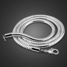 Atacado colar de pingente de prata esterlina masculina moda 925 prata lisa 4mm 20 / 22 Polegada cobra corrente menino/mulher jóias