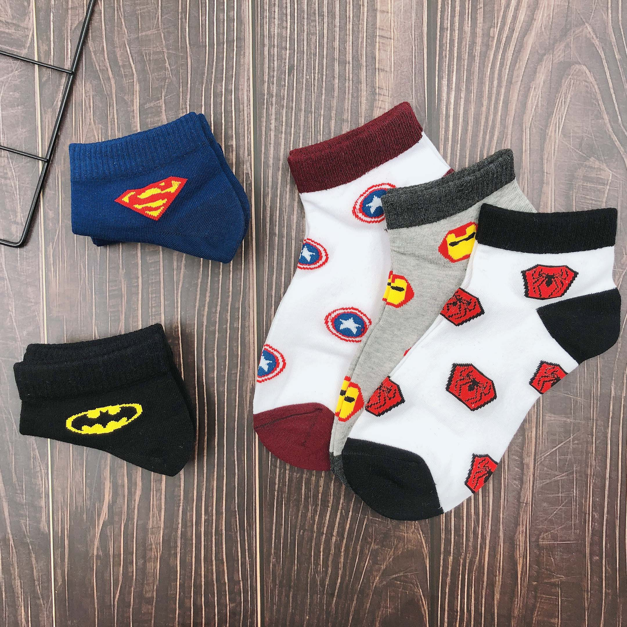 5 Pairs Men Socks Marvel Sports Super Man Bat Man Captain American Iron Man Spide Man Spring Summer Short Cotton Socks