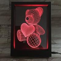 Love Bear 3D Visual Frame Small Night Lamp Factory Direct Selling Remote Control Visual Lamp Illusion of ya ke li deng