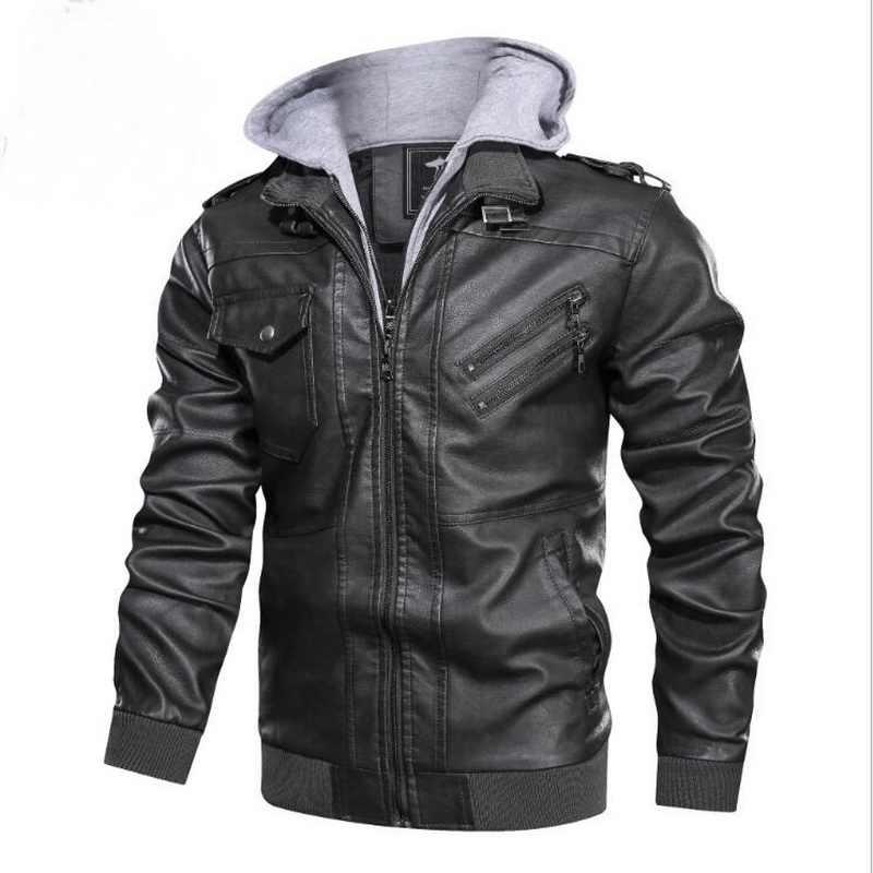リムーバブルキャップ男性の革ジャケット二重襟オートバイ PU ジャケット革のコート男性フェイクジャケット男性ジャケットヨーロッパサイズ
