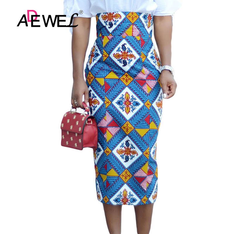 ADEWEL 2019 Plus Size Bluish African Print High Waist Bodycon Pencil Skirt Women Sexy Stripe Pencil Midi Long Skirts Female XXL-in Skirts from Women's Clothing