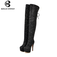 BONJOMARISA New 33-48 Sexy Shining Platform Thigh High Boots Women Party Wedding Heels Over The Knee Shoes Woman