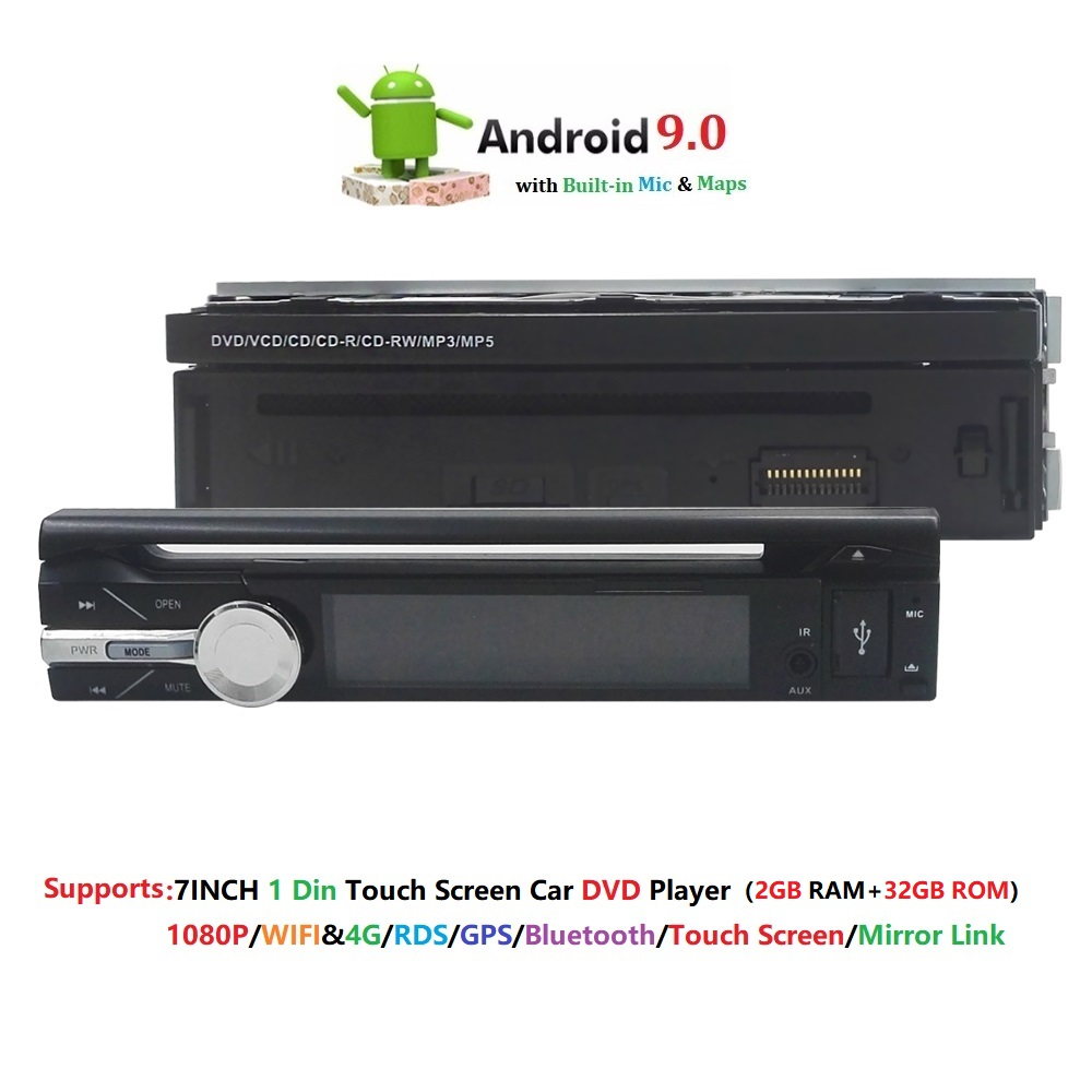 Universal <font><b>1din</b></font> Car Radio <font><b>Android</b></font> 9.0 GPS Bluetooth <font><b>Autoradio</b></font> Stereo Mirrorlink Multimedia Nav Player SWC DAB+TPMS RDS DVR BT MIC image
