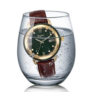 Image 2 - ヒスイ腕時計メンズダークグリーンダイヤルカレンダー表示自動クォーツ時計と証明書革ボックスレロジオmasculino 2020