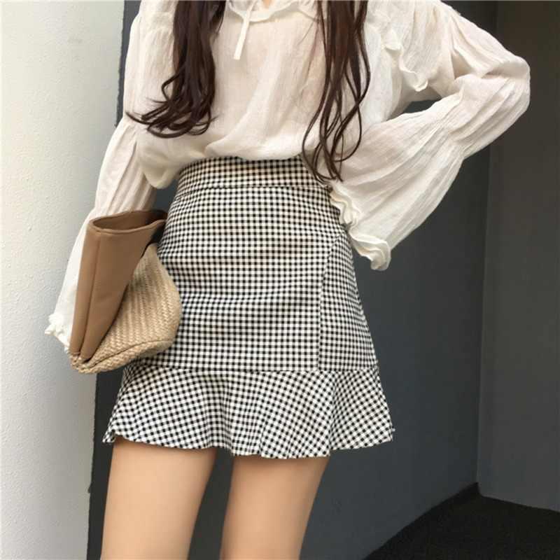 Nueva moda coreana dulce estilo falda de las mujeres con volantes sirena Plaid alta cintura inferior falda de verano sección delgada faldas cortas