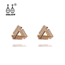 DREJEW Triangle Square Rhinestone Statement Earrings Sets 2019 Gold Silver Crystal Stud for Women Fashion Jewelry H693