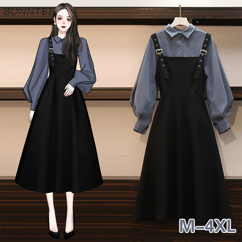Dress Sets Women Plus Size 4XL Chic Fashion Elegant Office Lady Outfits 2 Piece Korean Fall Basic Simple Female Shirts Vestido