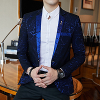 Luxury Party Prom Suit Jacket Fashion Men's Printed Slim Suit Jacket Elegant Wedding Best Men Blazer Wine Red Blue Black Blazer
