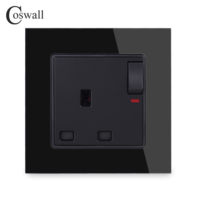 Wall Crystal Glass Panel Power UK Socket, 13A Black British Standard Electrical Outlet Switched 86mm * 86mm With Indicator