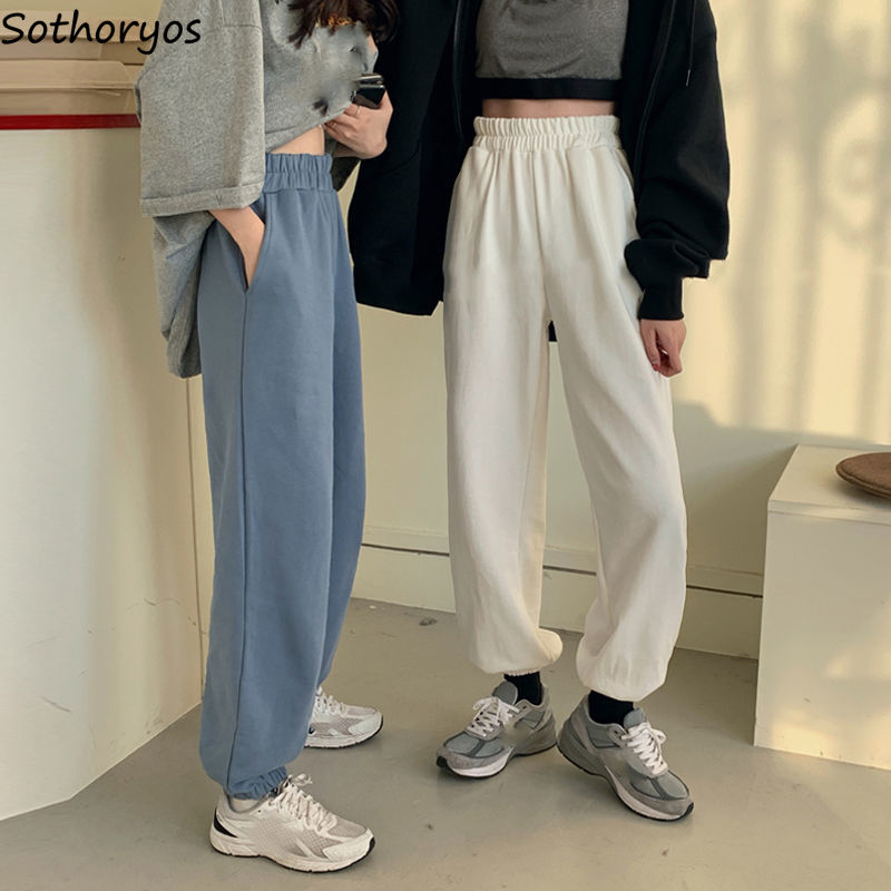 Women Pants Solid High Elastic Waist Thicken Harem Trousers Stretchy Loose Velvet Pockets Couple All-match Korean Style Students