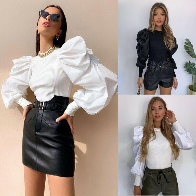 Fashion Womens Long Puff Sleeve Lantern Sleeve Crew Neck Splicing Slim Blouse Shirts Spring Fall Solid Female  Office Ladies