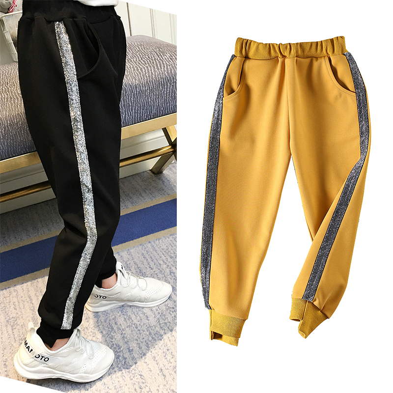 Spring Autumn baby trousers girls track pants kids casual bottoms children active  pants silver shining side tape Pants  - AliExpress