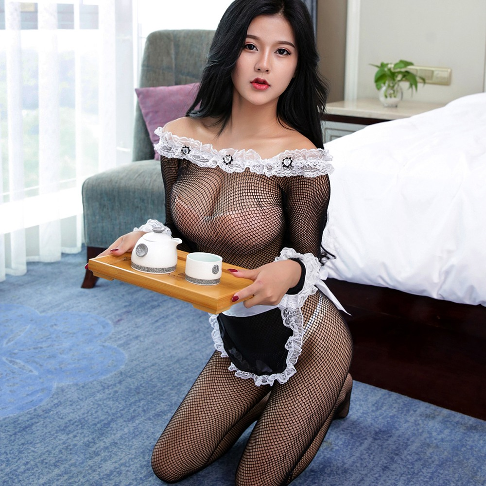 Lace Maid Dress Exotic Maid Suit Sex Costumes Exotic Apparel For Women Role Play One-piece Baby Dolls Stockings Adult Sex Games