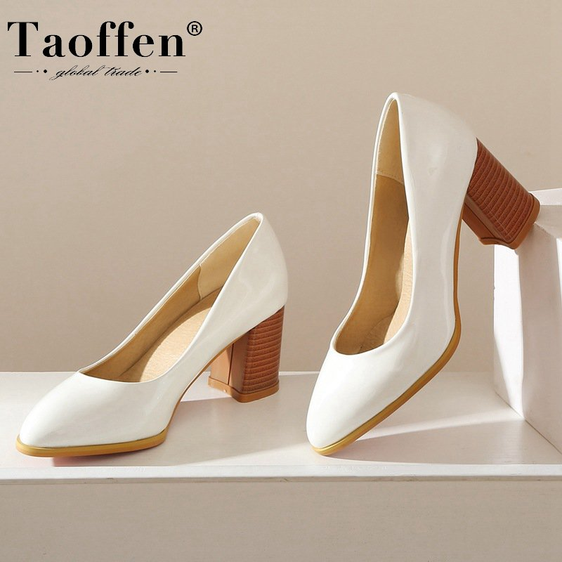 Taoffen 5 Color Plus Size 34-48 Woman Pumps Solid Color Hot Sale Party Wedding Shoes Woman Dress Work Pumps Footwear