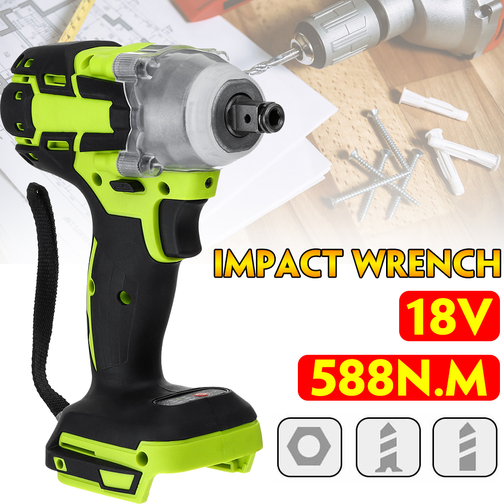18V 588N.M Electric Brushless Impact Wrench Rechargeable 1/2 Socket Wrench Power Tool Cordless Without Battery