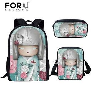 Forudesigns nova chegada saco de escola para meninas adolescentes bonito kawaii kokeshi boneca impressão dos desenhos animados estudante mochila livro lápis sacos
