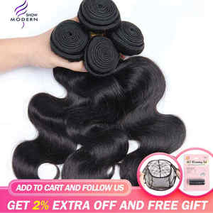 Modern Show Hair Malaysian Body Wave Hair Bundles Deal 100% Human Hair Extension 3 and 4 Bundles Available NonRemy Free Shipping(China)