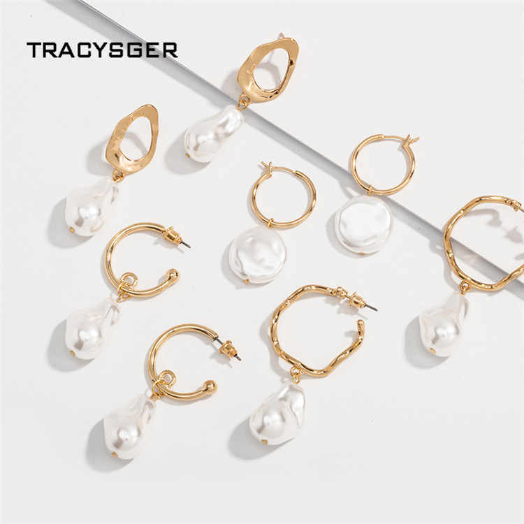 AH-ER84797/Tracysger/2019 Korea Mutiara Baroque Fashion Geometri Anting-Anting