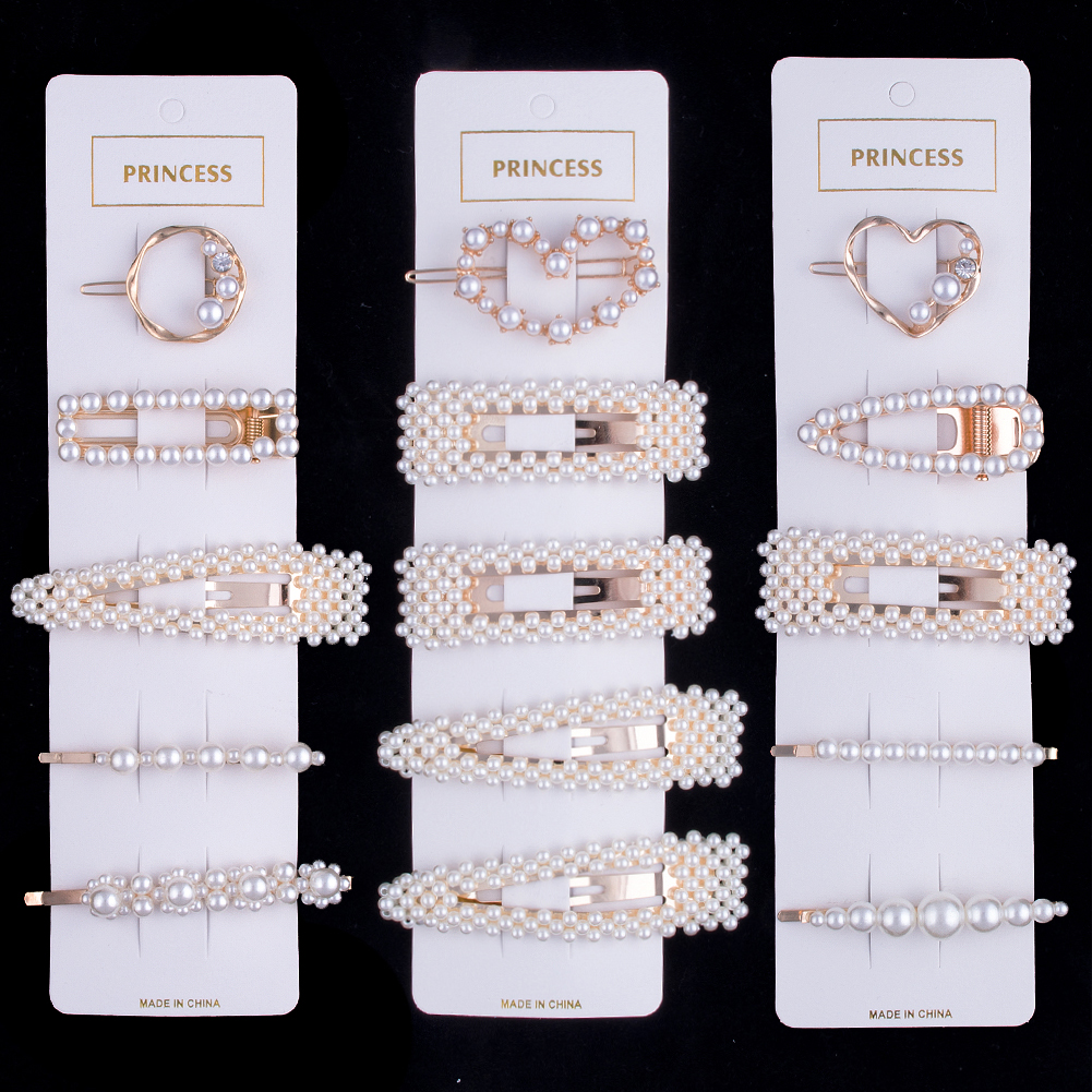 Woman Elegant Geometric Pearl Hairpins Korean Style Hair Clips Alloy Barrettes Girls Hair Accessories Hair Grips Headwear