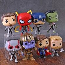 Avengers Endgame Iron Ant Man Captain America Hulk Thor Spiderman Doctor Strange Thanos Action Figures Big Head Toys 8pcs/set