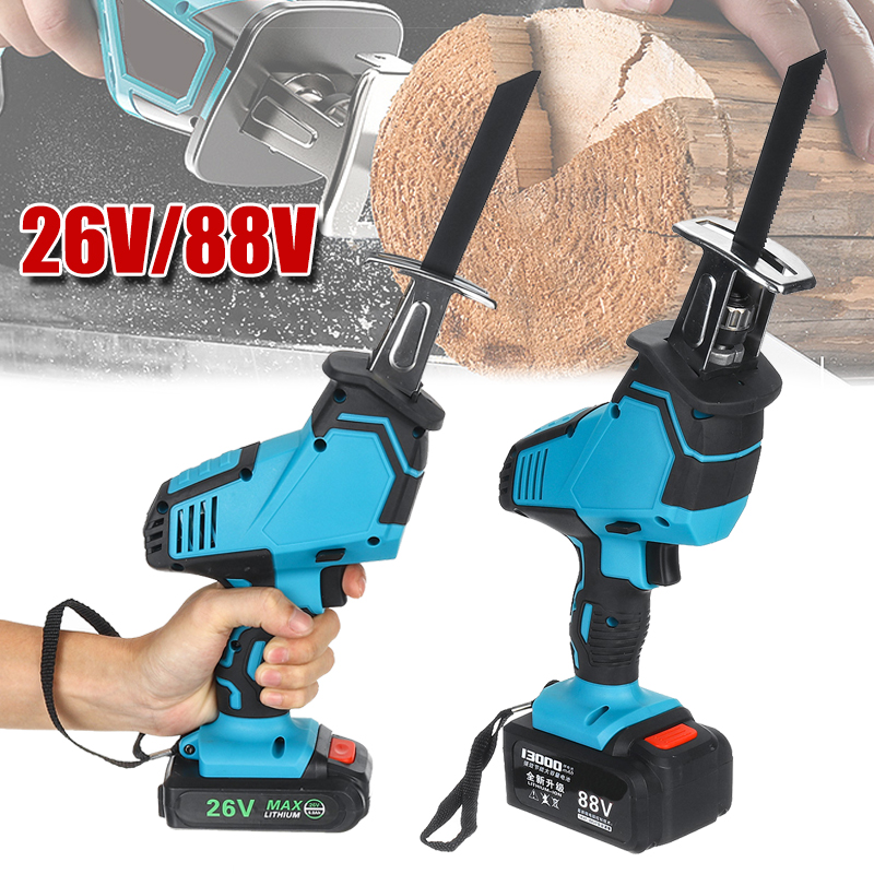 New High Quality  26V/88V Cordless Reciprocating Saw +5 Saw Blades Metal Cutting Wood Tool Portable Woodworking Cutters
