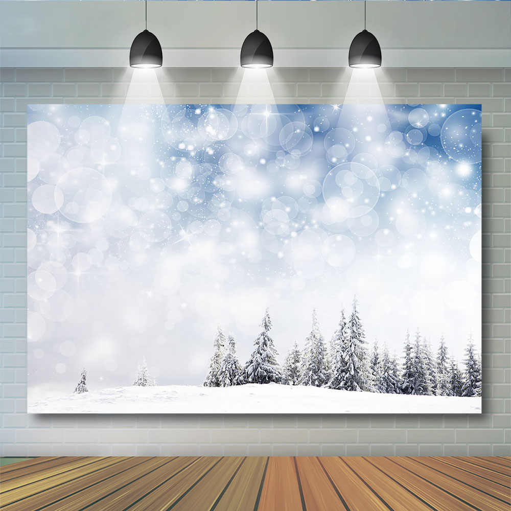 GoEoo 10x8ft Dreamy Snowflake Winter Forest Background Holiday Falling Snow Covered Trees Photography Backdrop Bokeh Snowfield Landscape Merry Christmas Happy New Year Photo Studio Vinyl Props