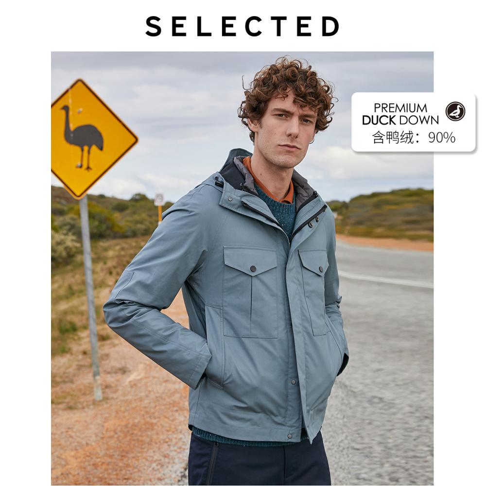 SELECTED Men Mid-length Detachable Lining Parka Outwear Coat Business-casual Down Jacket Clothes S | 419412594
