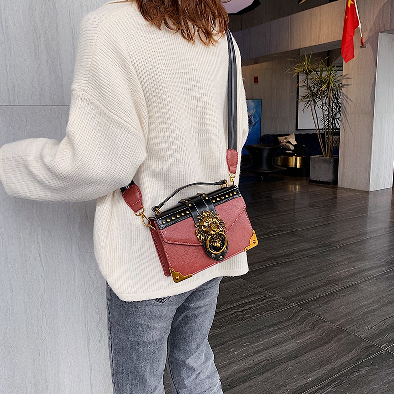 H7a37f289d30f4352a432064bf708286bF - Female Fashion Handbags Popular Girls Crossbody Bags Totes Woman Metal Lion Head  Shoulder Purse Mini Square Messenger Bag