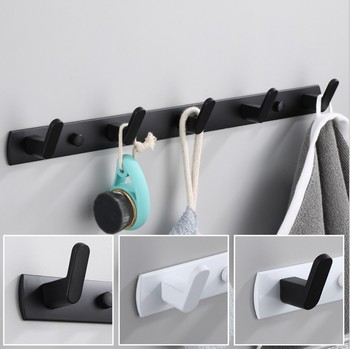 Black White Robe Hook Bathroom Towel Hooks Towels Bag Hat Hook Wall Mounted Clothes Coat Hook Wall Hanger Bathroom Hardware