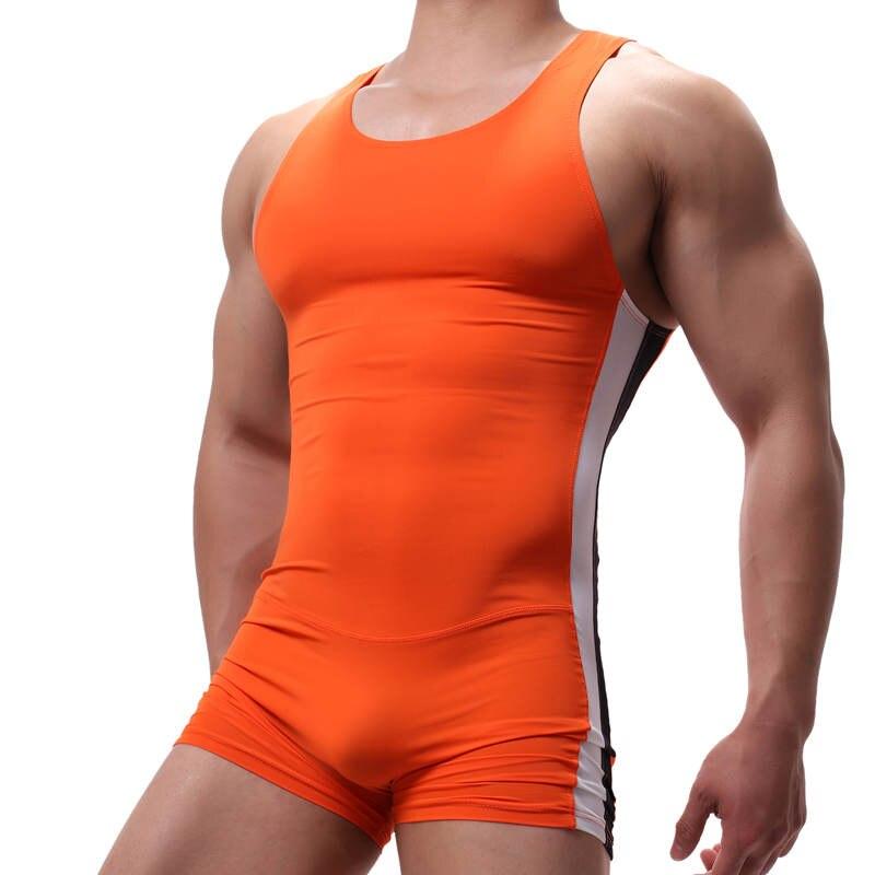 Fashion Men's Underwear Shapers Sexy Wrestling Suit Stretch Undershirt Sports Running Bodysuit One Piece Leotard Slim Jumpsuit