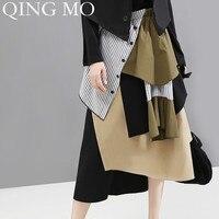QING MO Women Irregular Patchwork A Line Skirt Striped Women High Waist Mid Calf Long Skirt Office Lady Style ZQY1488