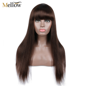 #4 Straight Human Hair Lace Wigs with Bang 150 Density Glueless Human Hair Wigs for Woman(China)