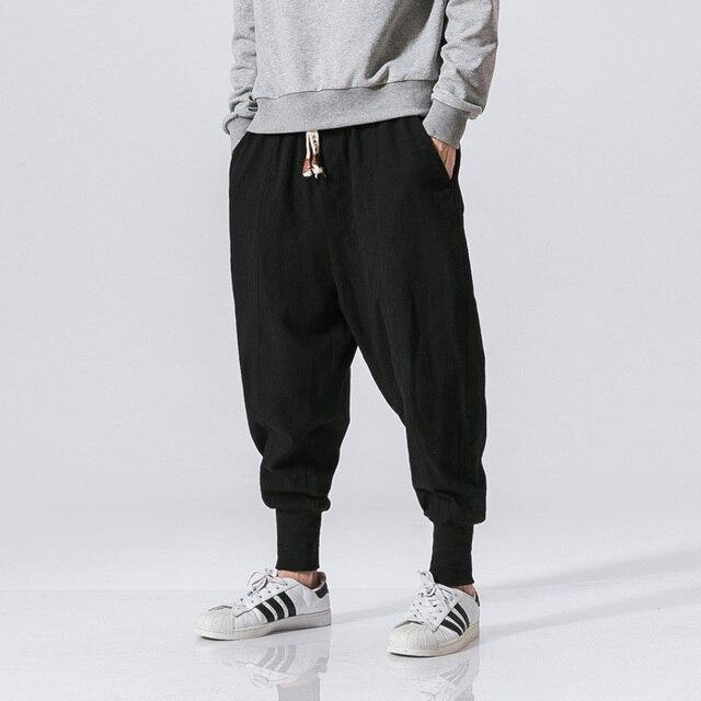 Cotton Harem Pants Men Solid Elastic Waist Streetwear Joggers 2020 New Baggy Drop-crotch Pants Casual Trousers Men Dropshipping 3