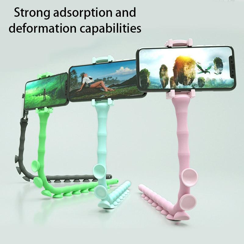 Adjustable Mobile Sucker Snake Shaped Cellphone Holder Bracket Smartphone Portable Desktop Stand Accessories for Mobile Phones
