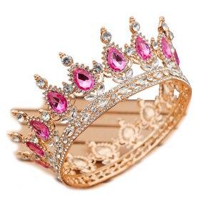 Image 5 - Yuvarlak kristal taç Diadem kraliçe Headdress Metal altın renk Tiaras ve taçlar balo Pageant düğün saç takı aksesuarları