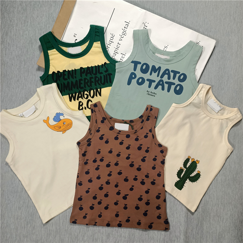 Summer new kids boys and girls Cactus,whale,monogrammed stripes cotton vest sleeveless tee 1