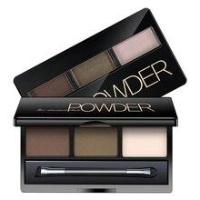 1 шт. Трехцветная пудра для бровей, макияж, 3D тени для век, палитра с зеркалом для макияжа, палитра для макияжа, женская косметика