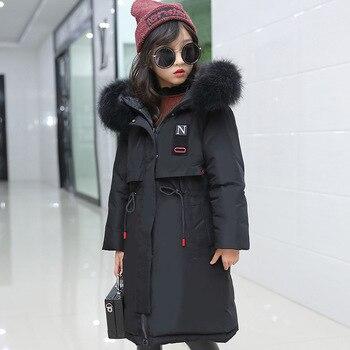 down jacket, 2019 new girls cuhk children's han edition thickening real fur coat long parka children down jacket outerwear
