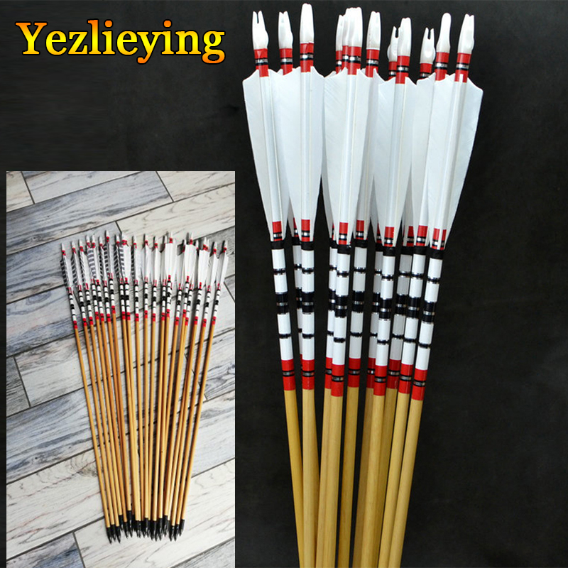 6PCS 80cm Handmade Natural Wooden Arrows Bolts W Turkey Feather For 25-50lbs Longbow Recurve Bow Archery Shooting